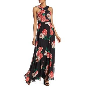 Laundry By Shelli Segal Floral Chiffon Gown Dress